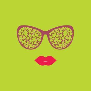Sunglasses and Lips. Vector Illustration. Print for Your T-Shirts. Hipster Theme. by AnnaKukhmar