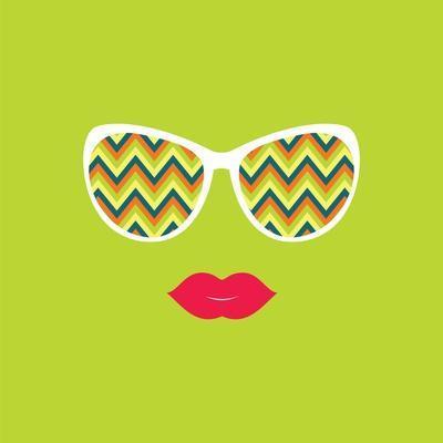 Sunglasses and Lips. Vector Illustration.