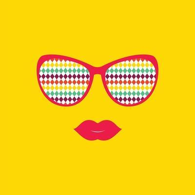 Sunglasses and Lips. Vector. Print for Your T-Shirts.