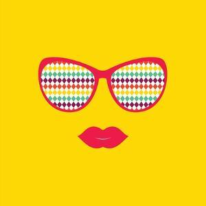 Sunglasses and Lips. Vector. Print for Your T-Shirts. by AnnaKukhmar