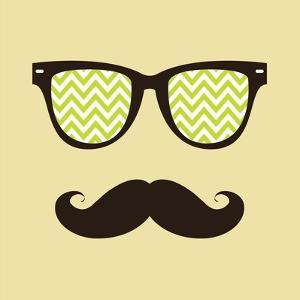 Vintage Hipster Background. Sunglasses and Mustache. by AnnaKukhmar