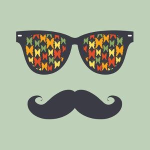 Vintage Hipster Background. Sunglasses and Mustache by AnnaKukhmar