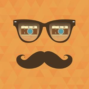 Vintage Hipster Background. Sunglasses Reflection Camera by AnnaKukhmar