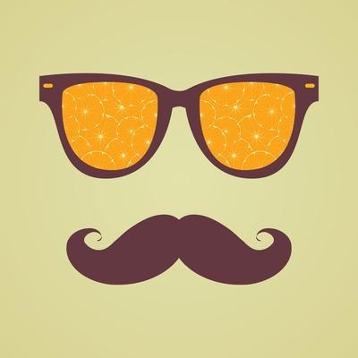 Vintage Hipster Background. Sunglasses Reflection Orange