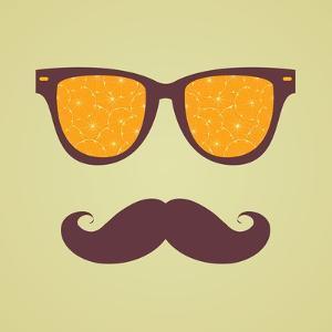 Vintage Hipster Background. Sunglasses Reflection Orange by AnnaKukhmar