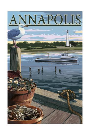 Annapolis, Maryland - Blue Crab and Oysters on Dock-Lantern Press-Art Print