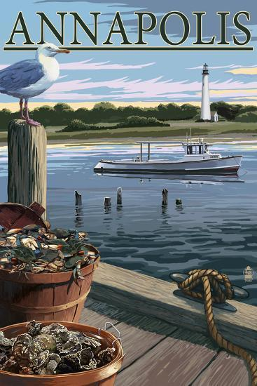 Annapolis, Maryland - Blue Crab and Oysters on Dock-Lantern Press-Wall Mural