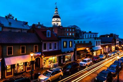 ANNAPOLIS MARYLAND - Maryland State Capitol is seen at dusk above Main Street Annapolis, Maryland