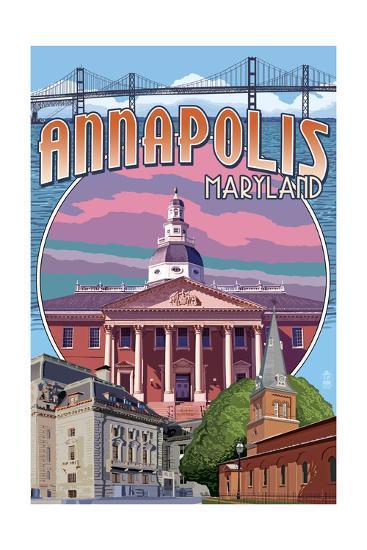 Annapolis, Maryland - Montage-Lantern Press-Art Print