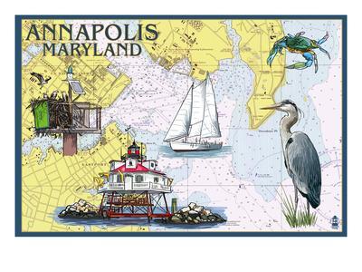 Annapolis, Maryland - Nautical Chart-Lantern Press-Art Print