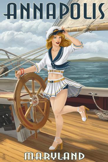 Annapolis, Maryland - Pinup Girl Sailing-Lantern Press-Art Print
