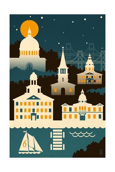 Annapolis, Maryland - Retro Skyline (no text)-Lantern Press-Art Print