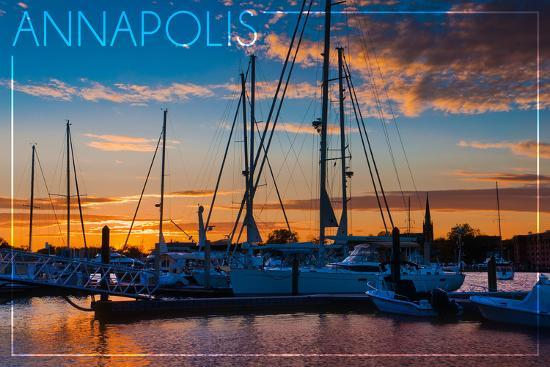 Annapolis, Maryland - Sailboats at Sunset-Lantern Press-Wall Mural