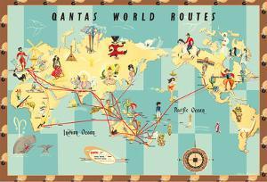 Qantas Empire Airways - World Routes Map by Anne Drew