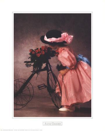 Justine Smelling Roses on Bike
