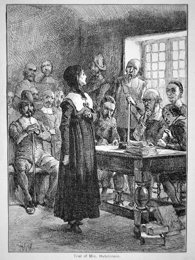 Anne Hutchinson on Trial for Offending the Puritan Clergy in Massachusetts (Litho)-American-Giclee Print