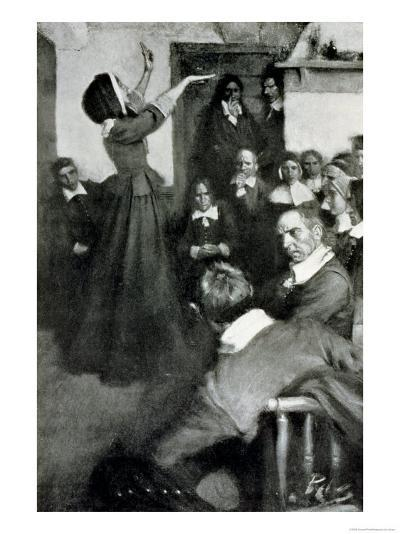 "Anne Hutchinson Preaching in Her House in Boston, 1637, Illustration from ""Colonies and Nation""-Howard Pyle-Giclee Print"