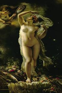 Danae, looking at herself in a mirror held by Cupid. (1789) by Anne-Louis Girodet de Roussy-Trioson