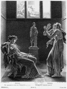 """Phaedra and Oenone, Illustration from Act I Scene 3 of """"Phedre"""" by Jean Racine 1824 by Anne-Louis Girodet de Roussy-Trioson"""