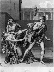 """Phaedra, Oenone and Hippolytus, Illustration from Act II Scene 5 of """"Phedre"""" by Jean Racine 1824 by Anne-Louis Girodet de Roussy-Trioson"""