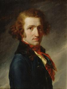 Portrait of a Man in Blue Clothes by Anne-Louis Girodet de Roussy-Trioson
