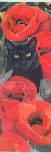 Black Cat with Poppies by Anne Robinson