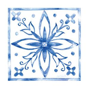 Tile Stencil I Blue by Anne Tavoletti
