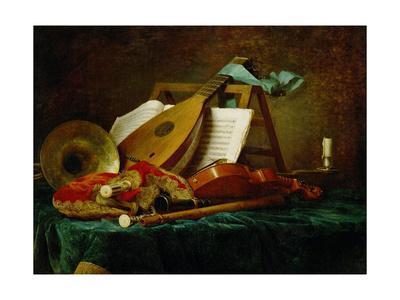 Les attributs de la Musique-the symbols of music, 1770. See also 40-11-13 / 47 Canvas, 88 x 116 cm