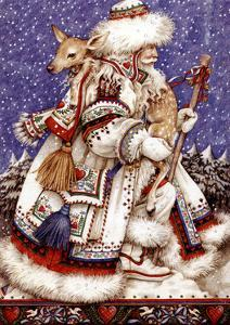 Father Christmas with Deer by Anne Yvonne Gilbert