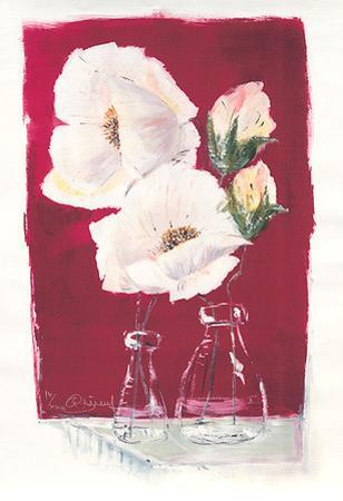 Weiße Blüten auf Rot, c.2000