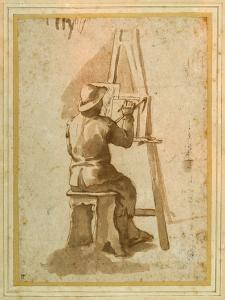 A Young Painter Seated at His Easel by Annibale Carracci