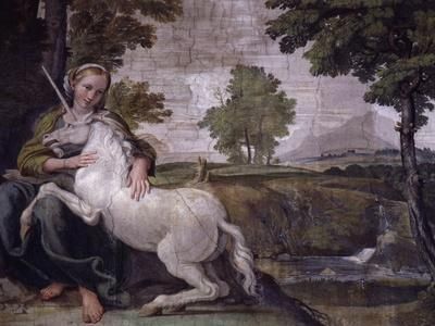 Unicorn, from Loves of the Gods Frescos, Carracci Gallery, Palazzo Farnese, Rome, Italy