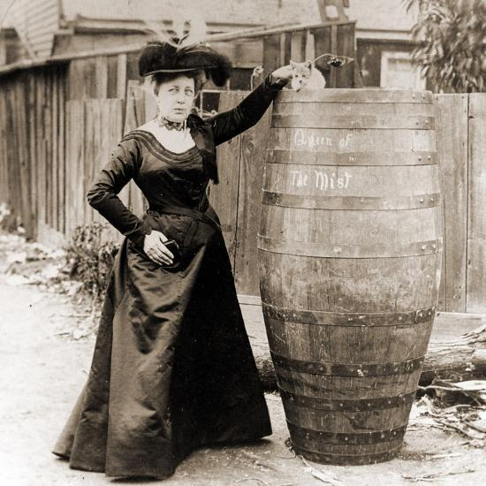 Annie Edson Taylor and the Cat Which Was Sent over the Horseshoe Falls in Her Barrel--Photographic Print
