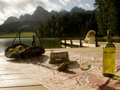 Glass of Wine and an Open Bottle in South Africa's Wine Country