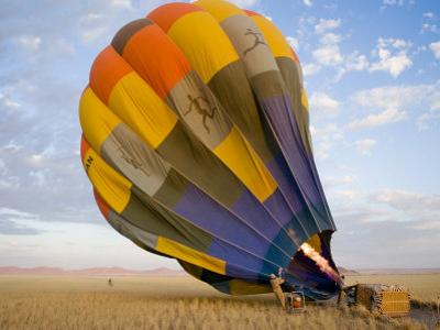Hot Air Balloon Is Prepared for Flight over the Namib Desert