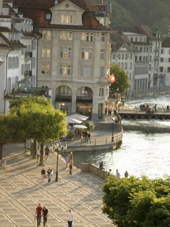 Lucerne Street Scene in the City Center Near Lake Lucerne
