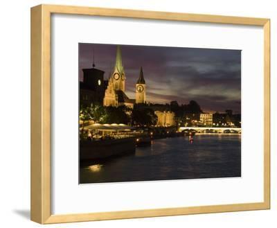 Twilight View across the River Limmat Toward Downtown Zurich
