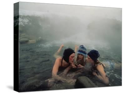 High School Friends Enjoy a Thermal Spring Near Gardiner, Montana
