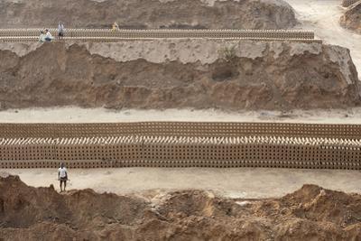 Brick Workers Amongst Hand Made Bricks, Rajasthan, India