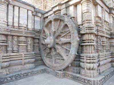 Carved Chariot Wheel on Wall of Konarak Sun Temple, UNESCO World Heritage Site, Konarak, India