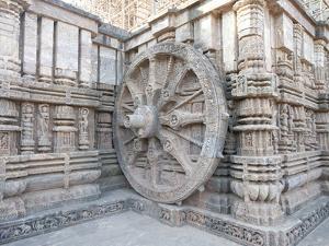Carved Chariot Wheel on Wall of Konarak Sun Temple, UNESCO World Heritage Site, Konarak, India by Annie Owen