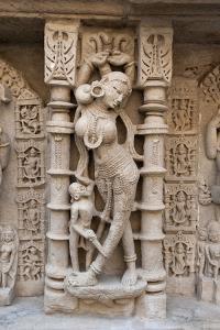 Carved Dancing Girl on Wall of Rani Ki Vav by Annie Owen