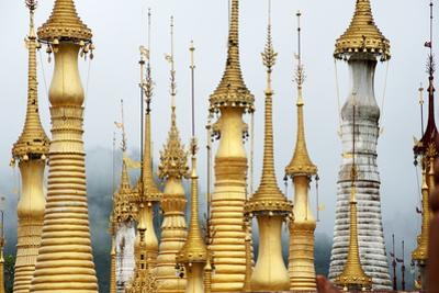 Golden Pagodas at the Nyaung Oak Monastery in Indein, Shan State, Myanmar (Burma)