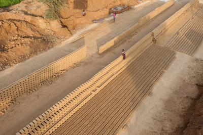 Hand Made Bricks Laid Out on the Ground to Dry before Baking, Northeast of Jaipur, Rajasthan, India