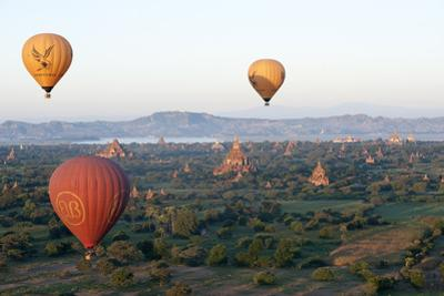 Hot Air Balloons Flying over the Terracotta Temples of Bagan