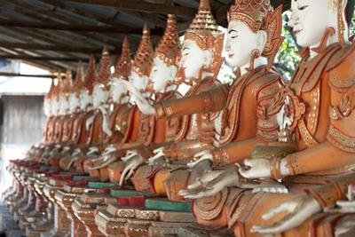 Line of Seated Buddhas at the Maha Bodhi Ta Htaung Monastery, Sagaing Division, Myanmar (Burma)