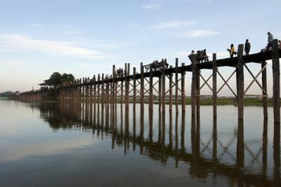 People Crossing U Bein's Bridge, Mandalay, Myanmar (Burma)