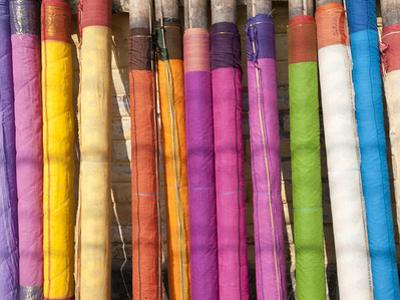 Sari Lengths of Brightly Coloured Cotton, Hand Woven on Village Looms, Kalna, West Bengal, India
