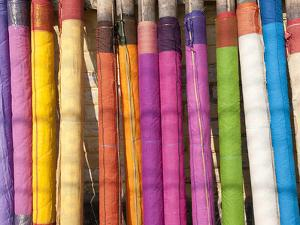 Sari Lengths of Brightly Coloured Cotton, Hand Woven on Village Looms, Kalna, West Bengal, India by Annie Owen