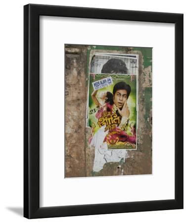 Shahruk Khan in Torn Bollywood Movie Poster on Wall, Hospet, Karnataka, India, Asia